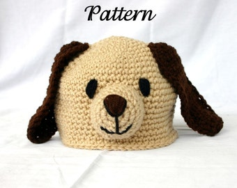 Baby Toddler Puppy Hat PDF Crochet PATTERN 6-36 month sizes beanie newborn infant head covering winter costume photography prop dog pet cute