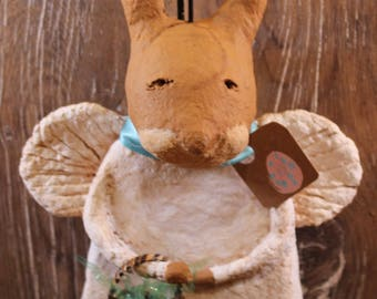 Primitive Easter Bunny Angel, OOAK, handmade paper mache, Primitive Easter Rabbit