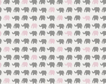Gray and Pink Elephant Parade Organic Fabric - By The Yard - Girl / Modern / Fabric