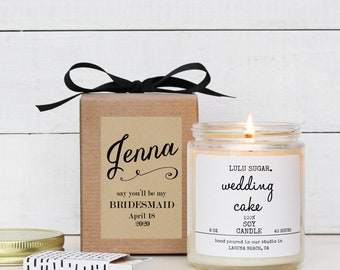 Will you be my Bridesmaid Gift |Bridesmaid Proposal Gift | Bridesmaid Candle | Bridesmaid Gift Box | Maid of Honor Candle - Jenna label