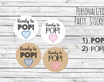 Kraft/White Ready to Pop Stickers, Custom Stickers, Label, Baby Shower, Baby Shower Stickers, Ready to Pop Baby Shower Popcorn Bag