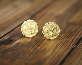 Fleur de Lis Earring Studs, Available in Raw Brass or Silver Plated Brass, Stainless Steel Posts