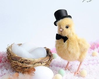 realistic easter chick OOAK Teddy Bear friend chicken mr.Cheep