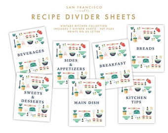 Recipe Binder Kit - Section Dividers - Vintage Kitchen, Retro - Set of 7 - US LETTER - Printable PDF Files - Instant Download