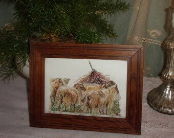 small frame, watercolor, depicting sheep, campaign, closed