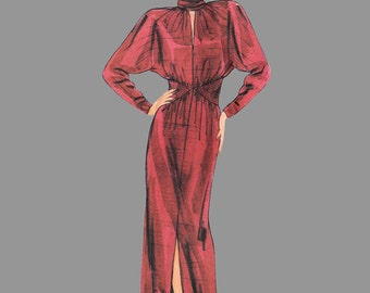 1980s Sophisticated Dress Pattern Vogue 1478 John Anthony Size 10 Bust 32 1/2 inches