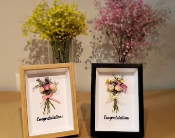 Handmade dry flower frames with hand writing(wedding gift/birthday/graduation/anniversary/love/couple/parents/thanks)