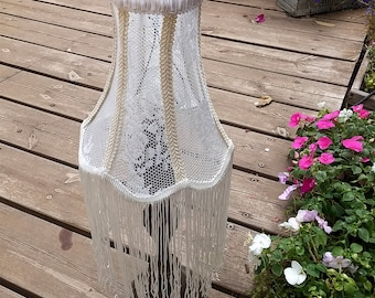 Shabby Chic Lamp Shade, Lace Table Lighting,Long 20 cm Fringes , Vintage Lamp, Vintage Lace, Home Decor, French Decor, Vintage Room Lighting