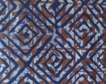Brown African Batik Fabric, Hand-dyed, Preshrunk, from Ghana, for Sewing, Quilts and More, by the Yard