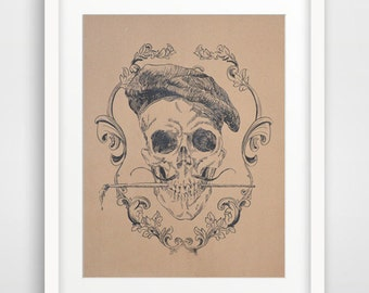 Art print Artist Skull serigraph signed silk-screen print on heavy toned paper gift for artist salvador dali with a brush victorian style