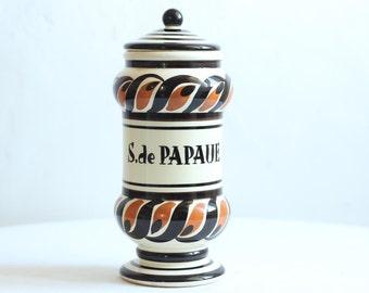 Suppression de Français Vintage peint à la main pot de pot/apothicaire de pharmacie Ironstone / Époque Vintage