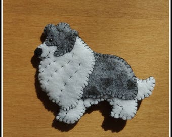 Shetland Sheepdog or Collie ornament-magnet combination-comic style-handmade embroidered felt-great doggie gift for any occasion.
