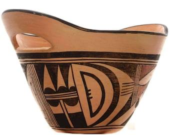 Vintage Hopi Tewa Pottery Double Handled Polychrome Design