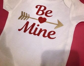 Baby girl Valentine's Day onesie be mine