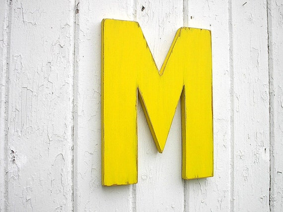 Kids Wooden Wall Decor Letter M 12 inch Yellow Nursery Wall