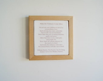 Handmade Tile with Tao Te Ching - Ceramic Tile - New Parents Hanging Wall Tile - Fathers Day - New Parent Gift
