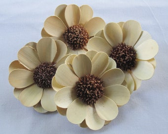 Palm flowers in neutral cream color - Set of 12