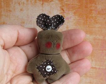 Handmade Mini 2 inch Teddy Bear Bunny by Woollybuttbears - perfect pet for Blythe doll