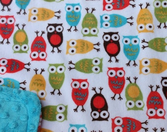Minky Blanket Owl Print Minky with Turquoise Dimple Dot Minky Backing - Perfect Size a Toddler or Child 36 x 42 LAST ONE AVAILABLE
