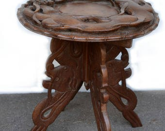 Hand Carved Table Dragon Table Boho Asian Side Table