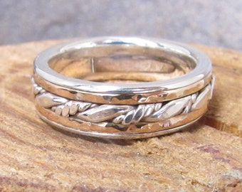 Yellow Gold and Argentium Sterling Silver Inlayed Man's Ring or Wedding Band