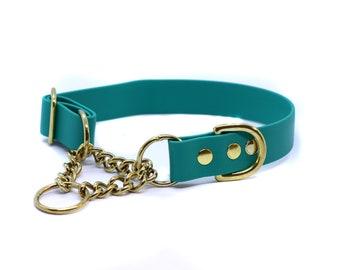 "1"" Wide Biothane Collar Brass Chain Martingale"