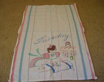 Old Linen Tuesday Dishtowel Lady Ironing