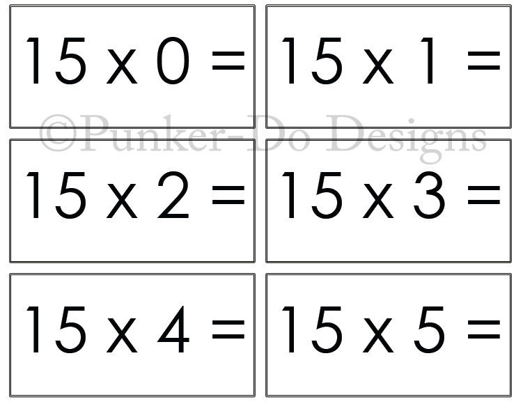 multiplication math flash cards 1x 15x instant. Black Bedroom Furniture Sets. Home Design Ideas