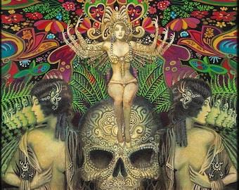 Mind Garden ATC ACEO Mini Altar Art Fine Art Print Pagan Mythology Psychedelic Bohemian Gypsy Witch Goddess Art