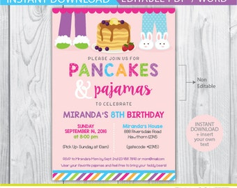 Pancakes and pajamas birthday invitation printable pancakes pancakes and pajamas invitation pancake and pajama party pancake invitation pancakes and pajamas filmwisefo