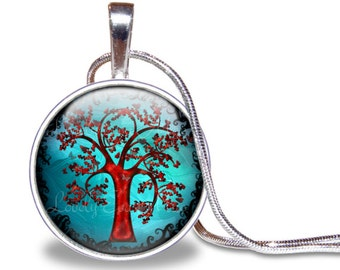 Tree Necklace, Tree Pendant, Glass Tile, Tree Jewelry, Tree of Life Necklace, Red and Blue Necklace, Nature Jewelry, Woodland, Silver Plated