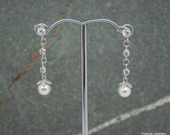 Cz and swarovski pearl drop earrings, wedding earrings, bridesmaid earrings, crystal and pearl earrings, cubic zirconia drop earrings