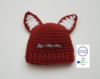 CROCHET PATTERN/Crochet Baby Fox Beanie Pattern/PDF Pattern