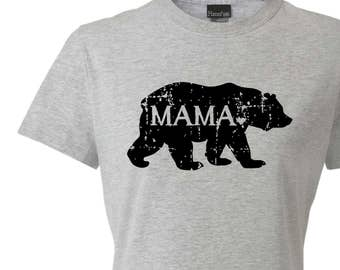MAMA bear graphic tee, bear tshirt, mama gift, bear silhouette, screen print t-shirt, womens fitted tee, new mom, Christmas gift