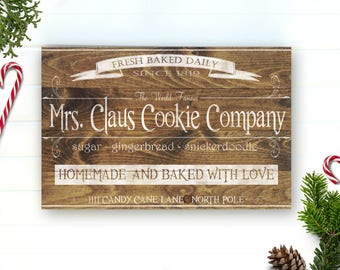 Mrs Claus Cookie Co - Sign - Mrs Claus Cookie Sign - Christmas Sign - Christmas Decor - Christmas Decoration - Country Christams - Wood Sign