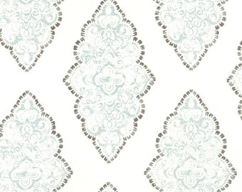 Light Blue, White & Gray Curtain Panels, Blue Damask Drapes 24W or 50W x 63, 84, 90, 96 or 108L in Premier Prints Monroe Snowy