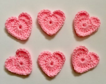 Set of 6 Pink Crochet Heart Appliqués | Crocheted Hearts to Use for Arts and Crafts, Gift Giving, and More! | Pink Heart Embellishments