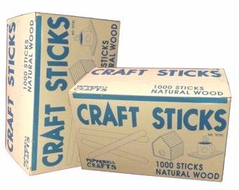 2 Sealed Boxes of 1000 Bulk Natural Wood Popsicle Sticks / Craft Sticks