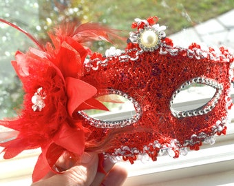 Red and Silver Masquerade Bridal Mask, Mascarade mask, Red mask, lace mask, mardi gras, costume, sweet 16, homecoming, halloween mask,