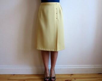 Vintage 1980s Skirt Yellow Midi Skirt High Waisted Skirt A Line Skirt with Elastic Waist Large Size