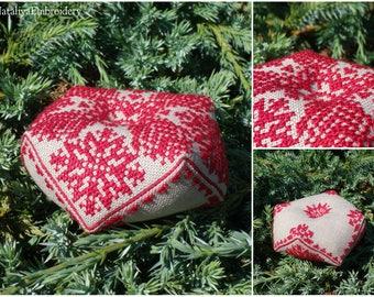PDF cross stitch pattern biscornu: Snowflake&Cone