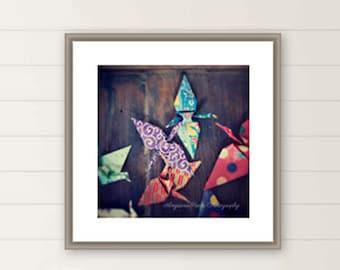 Paper crane photograph, Origami, Japanese, Hope, Peace, Nursery Decor, Senbazuru, Large wall art, oversized wall art, paper folding, bird.