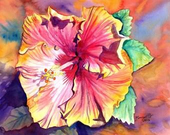 Tropical Hibiscus 8x10 giclee print, Hawaiian art,  orange hibiscus, hibiscus art, kauai art print,  kauai paintings, hawaiiana, kauaiartist