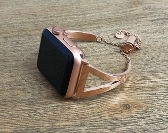 The Cheri Chic Metal Apple Watch Band 38mm or 42mm | Rose Gold Stainless Steel | Series 1, 2, 3 | Adjustable Strap
