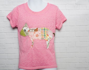 Girls Pink Pig T Shirt is Reverse Appliqued with a Crazy Quilted Piglet - Burnout T Shirt in Fuschia - Made in the USA - Size 4T Toddler