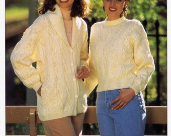 Lady's Sweater Pullover Jumper and Jacket  - Hayfield Double Knitting 4264 size 76 to 102 cm (30 to 40 inches) - Vintage Knitting Pattern
