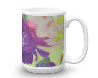Mug made in the USA - Purple Roses in the Shade