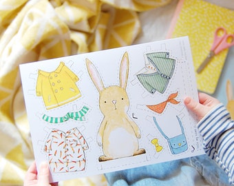 Rabbit Dress Up Card - Paper Doll Rabbit Toy –  Quirky Kids Craft Activity - School Holiday Activities - Dress Up Bunny Card - Birthday Card