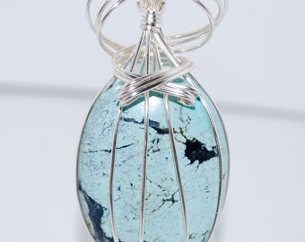 Lovely Turquoise wire wrapped in Silver with 925 Sterling Silver Chain