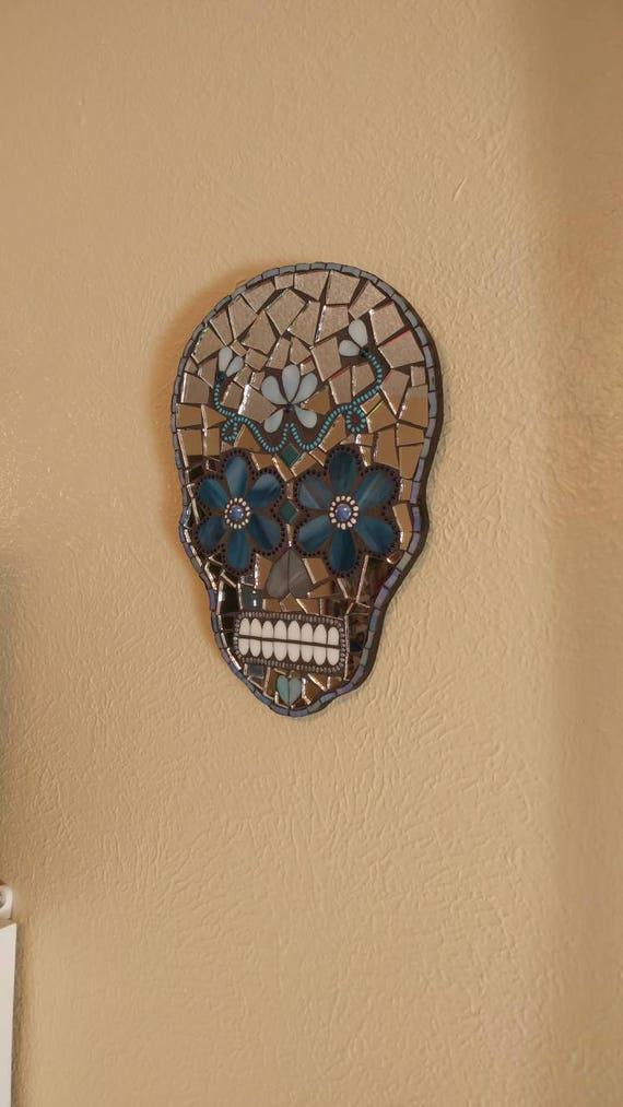 Mosaic sugar skull art decor plaque Dia De Los Muertos day of